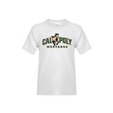 Youth White T Shirt-Calpoly Mustangs Primary Mark