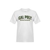 Youth White T Shirt-Calpoly w/ Mustang
