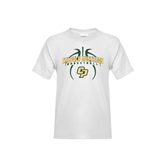Youth White T Shirt-Basketball In Ball Design