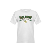 Youth White T Shirt-Baseball Crossed Bats Design