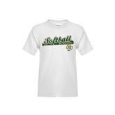 Youth White T Shirt-Softball Bat Design