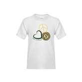 Youth White T Shirt-Peace, Love, Volleyball Design