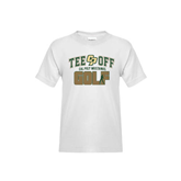 Youth White T Shirt-Tee Off Golf Design