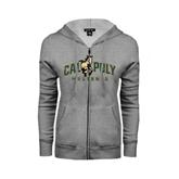 ENZA Ladies Grey Fleece Full Zip Hoodie-Calpoly Mustangs Primary Mark Distressed