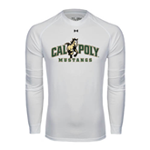 Under Armour White Long Sleeve Tech Tee-Calpoly Mustangs Primary Mark