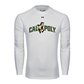 Under Armour White Long Sleeve Tech Tee-Calpoly w/ Mustang