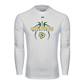 Under Armour White Long Sleeve Tech Tee-Basketball In Ball Design