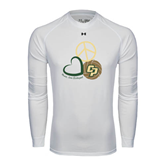 Under Armour White Long Sleeve Tech Tee-Peace, Love, Volleyball Design