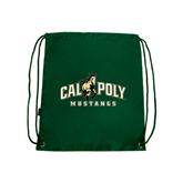 Dark Green Drawstring Backpack-Calpoly Mustangs Primary Mark