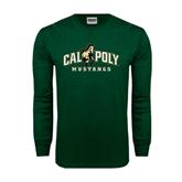 Dark Green Long Sleeve T Shirt-Calpoly Mustangs Primary Mark