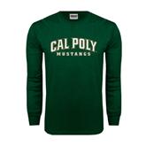 Dark Green Long Sleeve T Shirt-Calpoly w/ Mustang