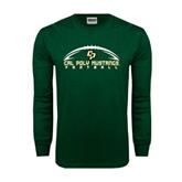 Dark Green Long Sleeve T Shirt-Arched Football Design