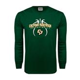 Dark Green Long Sleeve T Shirt-Basketball In Ball Design