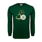Dark Green Long Sleeve T Shirt-Peace, Love, Volleyball Design