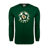 Dark Green Long Sleeve T Shirt-Soccer Ball Design