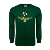 Dark Green Long Sleeve T Shirt-Track and Field Shoe Design