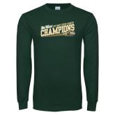 Dark Green Long Sleeve T Shirt-2017 Mens Cross Country Champions
