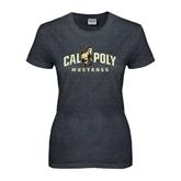 Ladies Dark Heather T Shirt-Calpoly Mustangs Primary Mark