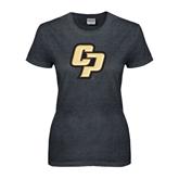 Ladies Dark Heather T Shirt-Interlocking CP