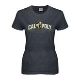 Ladies Dark Heather T Shirt-Calpoly w/ Mustang