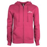 ENZA Ladies Fuchsia Fleece Full Zip Hoodie-Interlocking CP