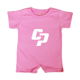 Bubble Gum Pink Infant Romper-Interlocking CP
