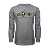 Grey Long Sleeve TShirt-Calpoly Mustangs Primary Mark