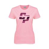 Ladies Pink T Shirt-Interlocking CP Foil