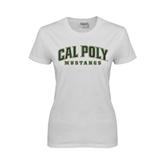 Ladies White T Shirt-Calpoly w/ Mustang