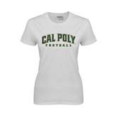 Ladies White T Shirt-Football