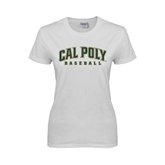 Ladies White T Shirt-Baseball