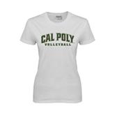 Ladies White T Shirt-Volleyball