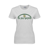 Ladies White T Shirt-Arched Football Design