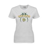 Ladies White T Shirt-Basketball In Ball Design
