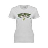 Ladies White T Shirt-Baseball Crossed Bats Design