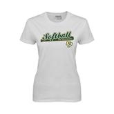 Ladies White T Shirt-Softball Bat Design