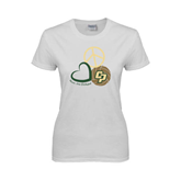 Ladies White T Shirt-Peace, Love, Volleyball Design