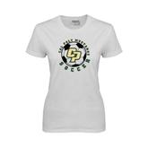 Ladies White T Shirt-Soccer Ball Design