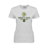 Ladies White T Shirt-Track and Field Shoe Design