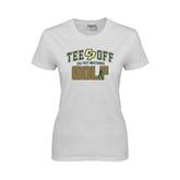 Ladies White T Shirt-Tee Off Golf Design