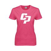 Ladies Fuchsia T Shirt-Interlocking CP