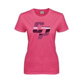 Ladies Fuchsia T Shirt-Interlocking CP Foil