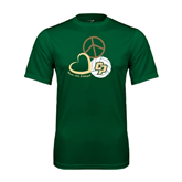 Performance Dark Green Tee-Peace, Love, Volleyball Design