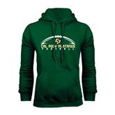 Dark Green Fleece Hood-Arched Football Design