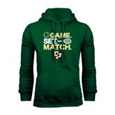 Dark Green Fleece Hood-Game Set Match Tennis Design