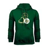 Dark Green Fleece Hood-Peace, Love, Volleyball Design