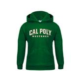 Youth Dark Green Fleece Hoodie-Calpoly w/ Mustang
