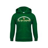 Youth Dark Green Fleece Hoodie-Arched Football Design