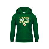 Youth Dark Green Fleece Hoodie-Game Set Match Tennis Design