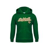 Youth Dark Green Fleece Hoodie-Softball